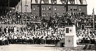 Fr. Henry McGuire preaching at a rally of the Holy Name Society at the baseball park of St. Peter's parish. Saint John, NB, 1926.