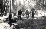 Fr. Edmund Quinn (2nd from right) with parish volunteers cutting wood in the bush, for the construction of St. Gabriel's Church. Athabasca, AB, Nov-Dec 1943.